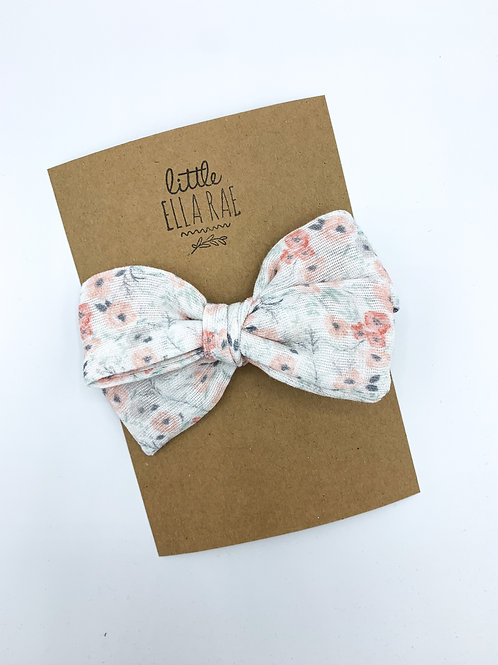 Gray Meadow Floral Gauze Bow