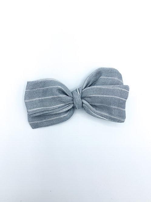 Dusty Blue Stripe Gauze Bow