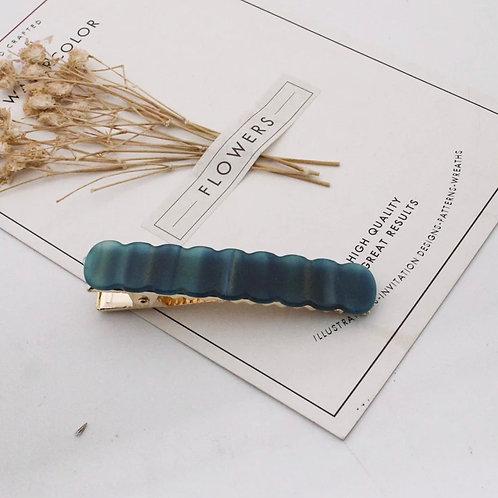 Blue-Green Marbled Scallop Acrylic Hair Clip