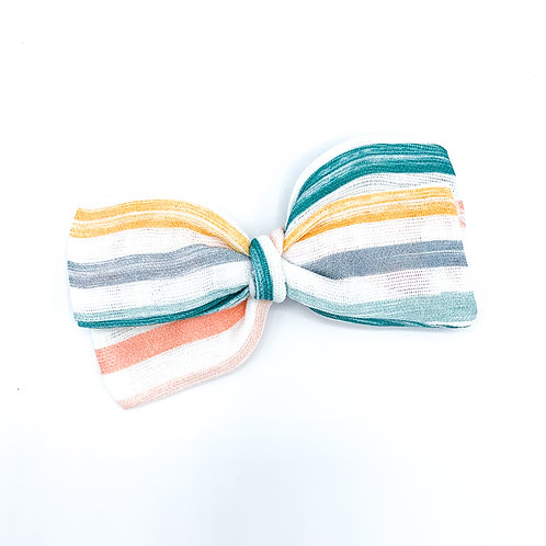 Mini Beach Stripe Gauze Bow