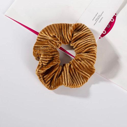 Ribbed Toffee Velvet Scrunchie