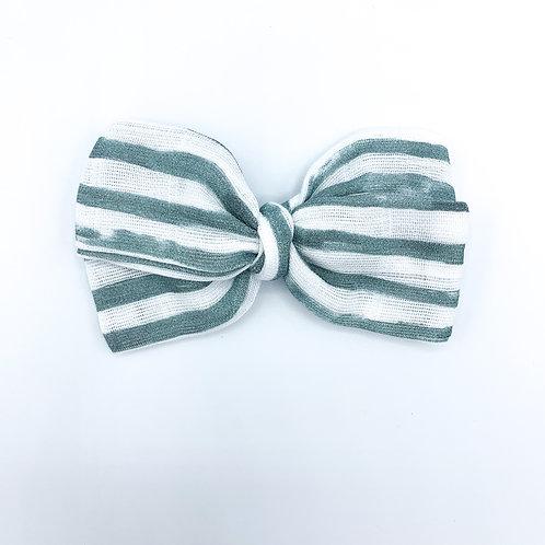 Sea Green Stripe Gauze Bow