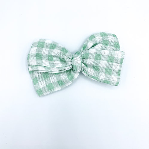 Mini Spring Green Gingham Gauze Bow