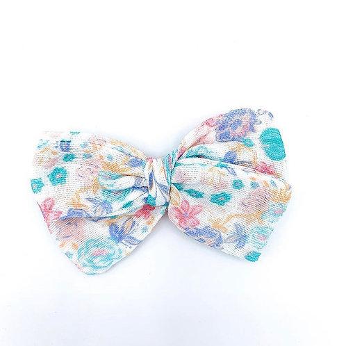 Mini Tropical Floral Gauze Bow