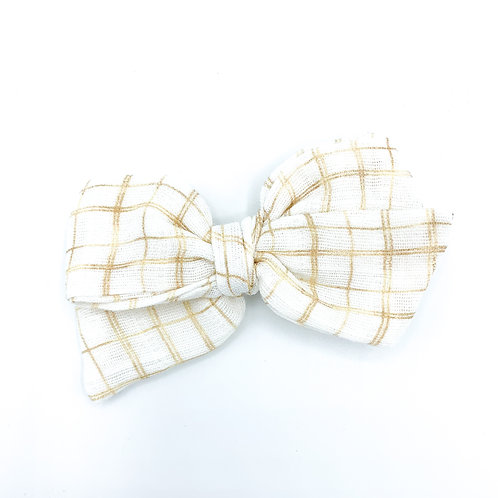Golden Christmas Plaid Gauze Bow