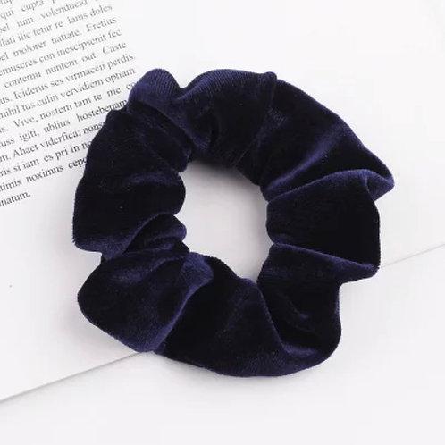 Navy Velvet Scrunchie