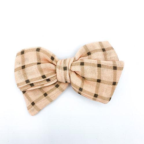 Mini Vintage Peach Gingham Gauze Bow