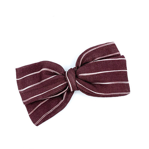 Mini Burgundy Stripe Gauze Bow
