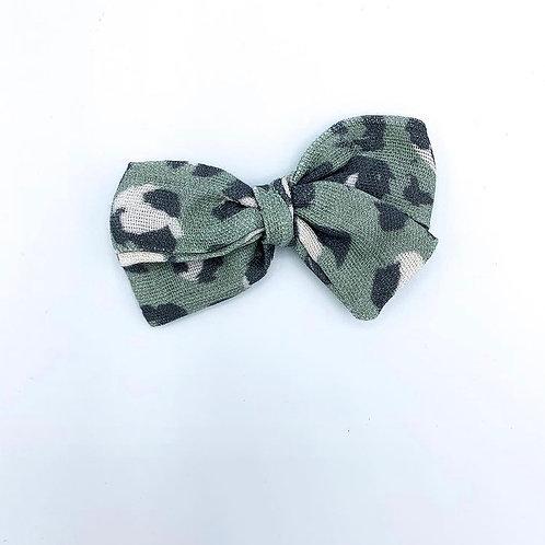 Mini Olive Leopard Gauze Bow