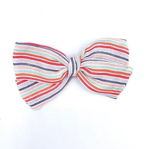 Girl Power Stripe Gauze Bow