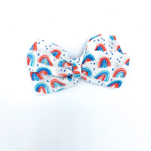 Mini Patriotic Rainbow Gauze Bow
