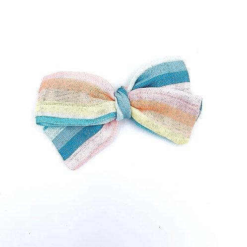 Mini Rainbow Stripe Gauze Bow