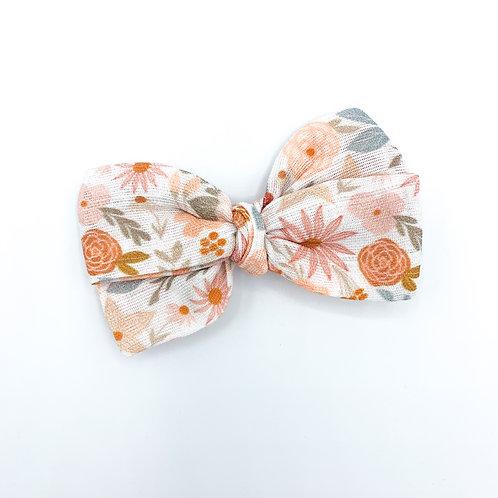 Terracotta Floral Gauze Bow