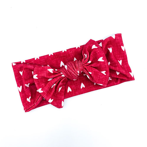 Red Heathered Heart Headwrap