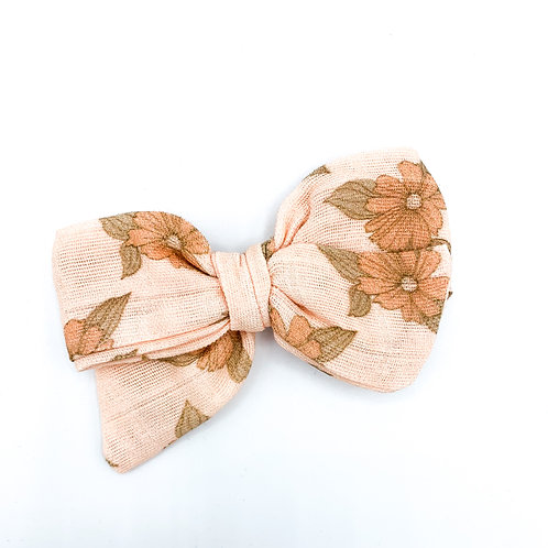 Vintage Peach Floral Gauze Bow