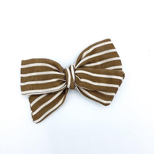 Mini Chocolate Stripe Gauze Bow