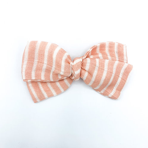 Mini Peachy Pink Stripe Gauze Bow