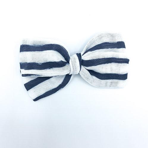 Mini Navy Stripe Gauze Bow
