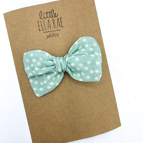 Mini Minty Dot Gauze Bow