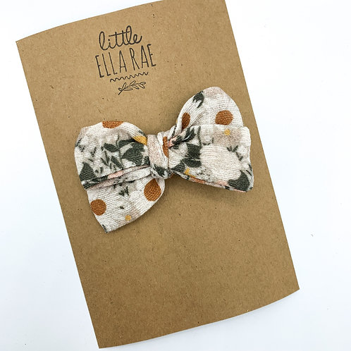 Mini Muted Juliet Floral Gauze Bow