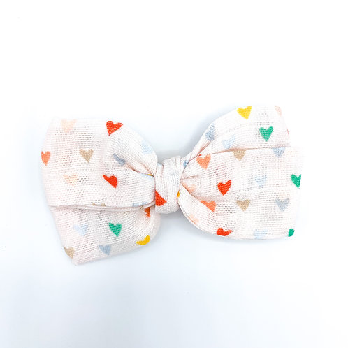 Retro Summer Hearts Gauze Bow