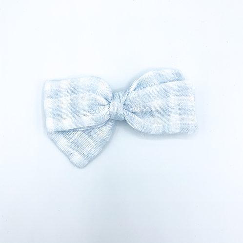 Mini Blue Gingham Gauze Bow