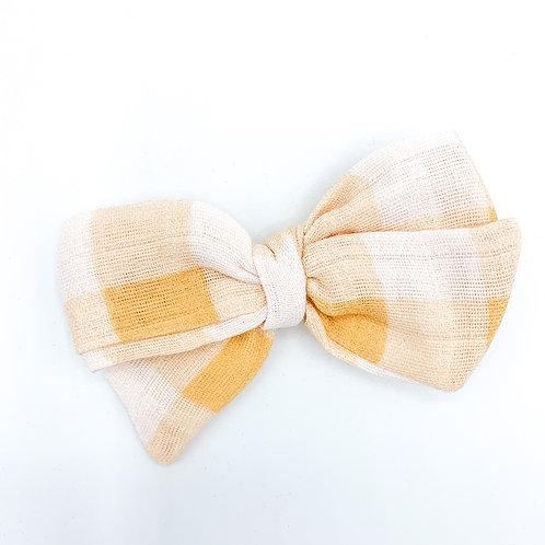 Vintage Yellow Gingham Gauze Bow