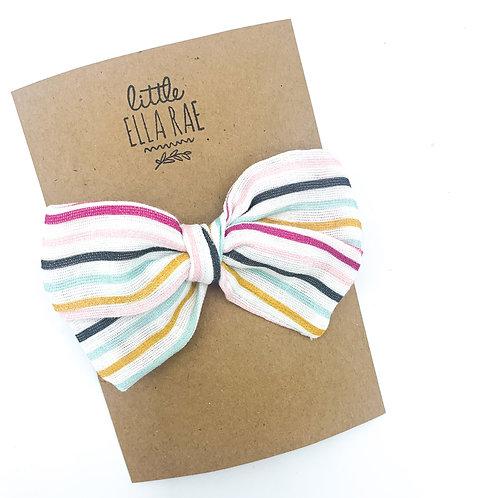 Berry Sweet Stripe Gauze Bow