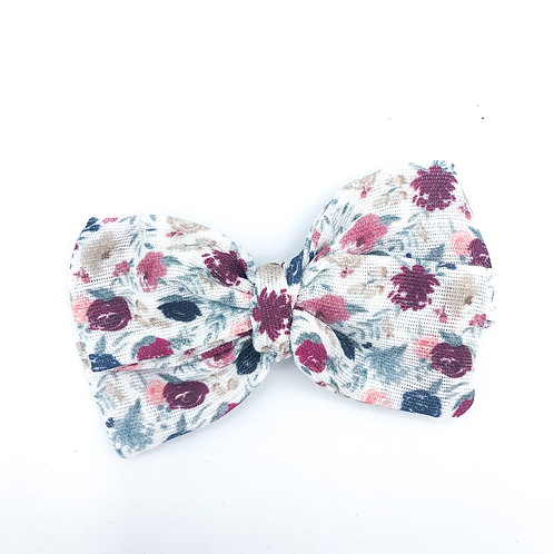 Blueberry Plum Floral Gauze Bow