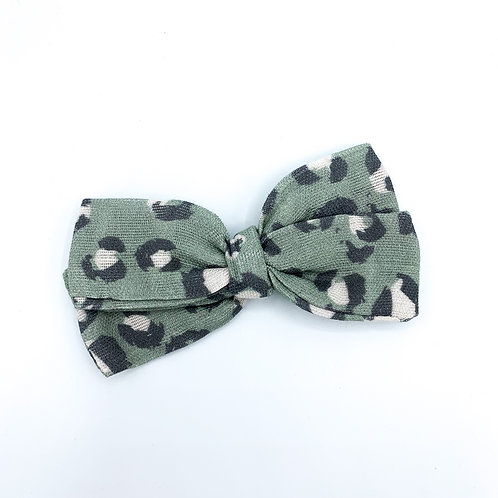 Olive Cheetah Gauze Bow
