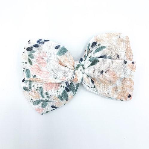 Cottage Floral Gauze Bow
