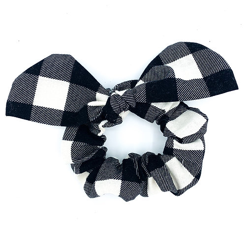 Black Plaid Scrunchie