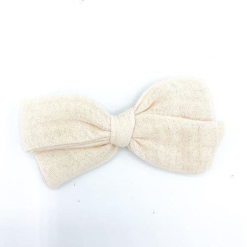 Cream Gauze Bow