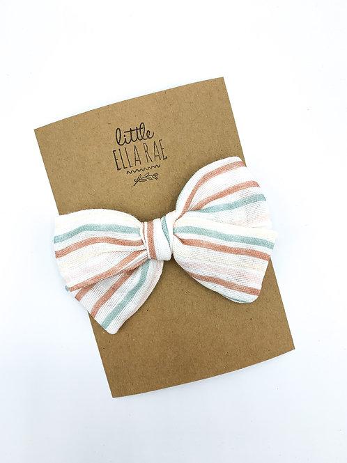Mini Daisy Stripe Gauze Bow