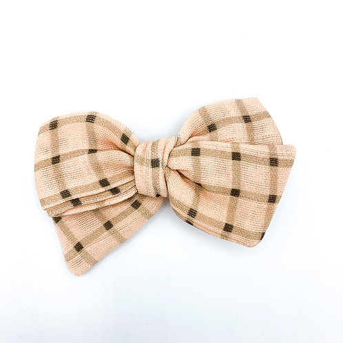 Vintage Chocolate Peach Gingham Bow