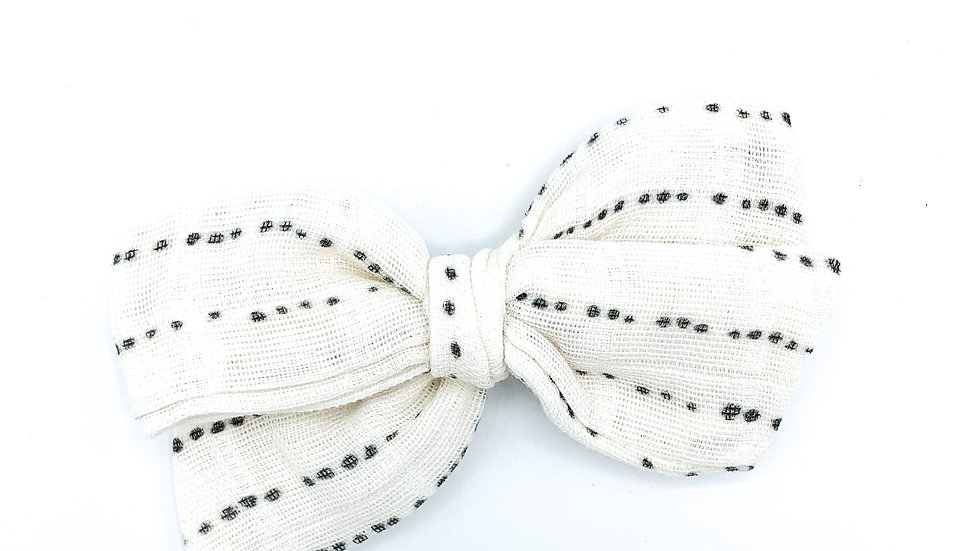 Cream Dotted Gauze Bow