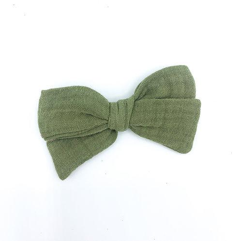 Olive Gauze Bow