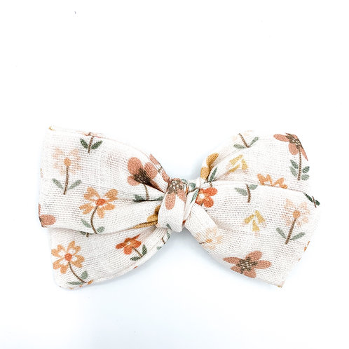 Vintage Meadow Floral Gauze Bow