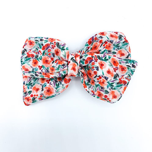 Bright Christmas Poppies Gauze Bow