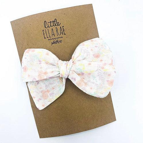 Mini Pastel Floral Gauze Bow