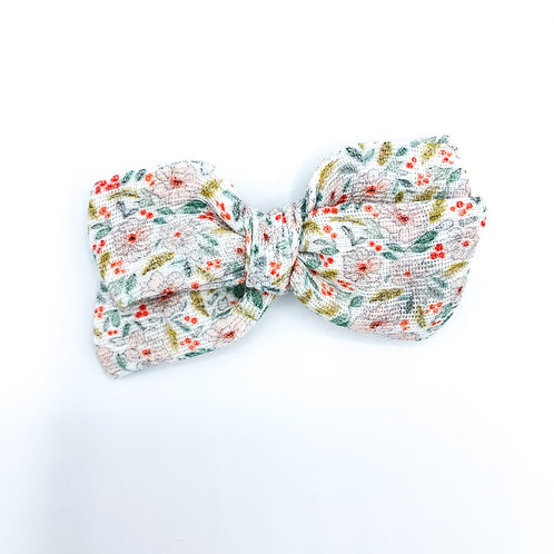 Mini Christmas Floral Gauze Bow