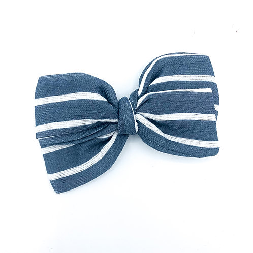 Mini Navy Stripe Gauze Bow