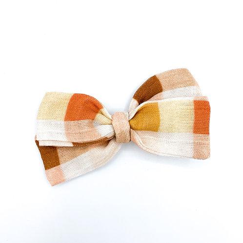 Vintage Coral Gingham Gauze Bow