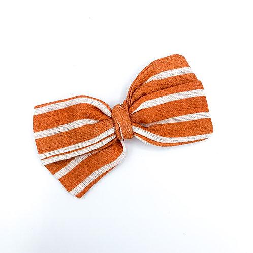 Mini Vintage Coral Stripe Gauze Bow