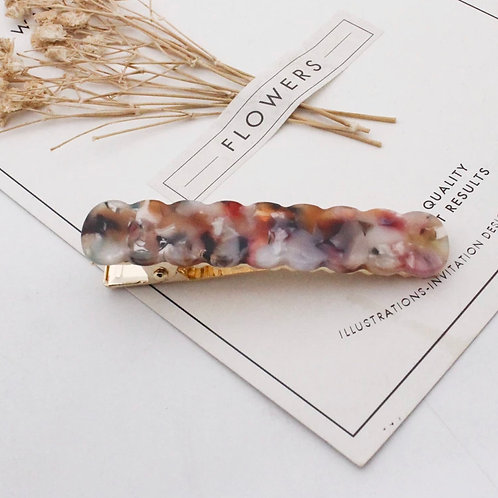 Fall Floral Marbled Scallop Acrylic Hair Clip