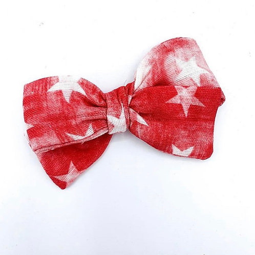 Distressed Red Stars Gauze Bow
