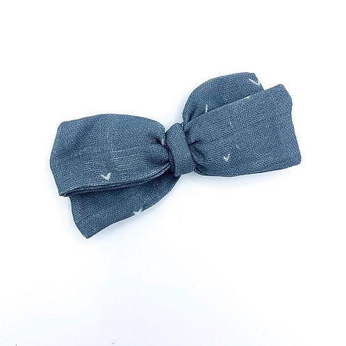 Mini Navy Heart Gauze Bow