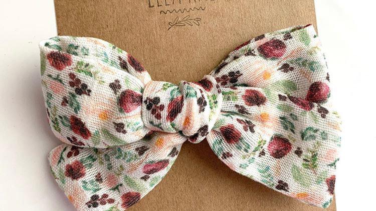 Maroon Floral Gauze Bow