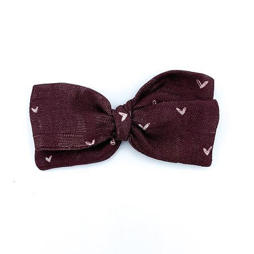 Mini Burgundy Hearts Gauze Bow