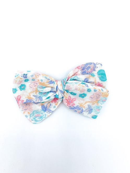 Retro Floral Gauze Bow